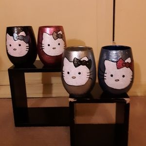 Set of 4 hello kitty wine glass cup